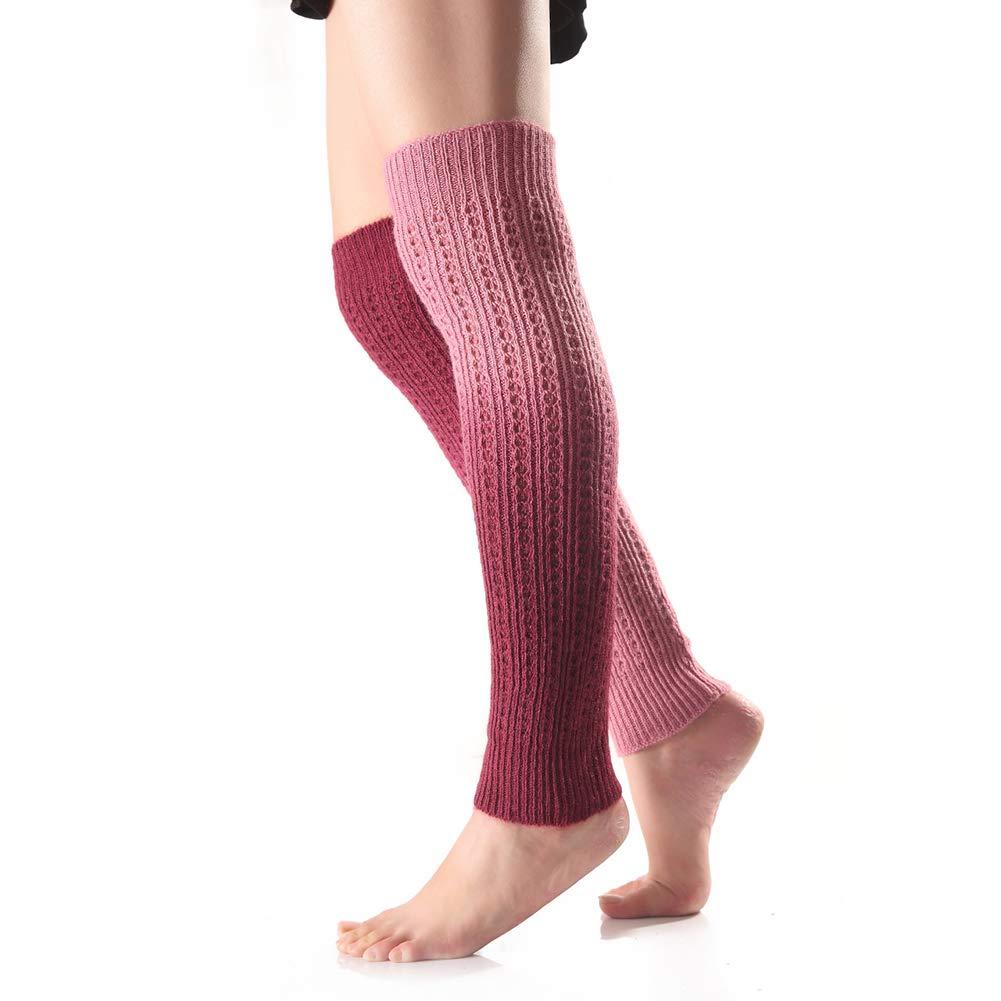 Greenlans Women Striped Ethnic Knitting Wool Footless Leg Warmers Knee High Boot Socks