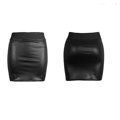 85e649691a EASY BUYY Women Short Stretch Black Wetlook Mini Skirt Ladies PVC Mini  Skirt Size 8-26: Amazon.co.uk: Clothing
