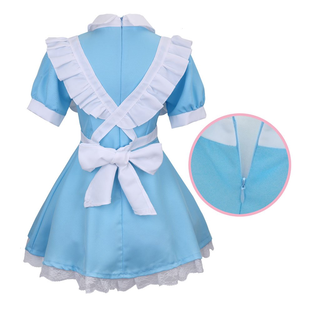 Colorful House Women's Cosplay Outfit Blue Dress Maid Fancy Dress Costume (Medium, Blue (with Petticoat)) by Colorful House (Image #4)