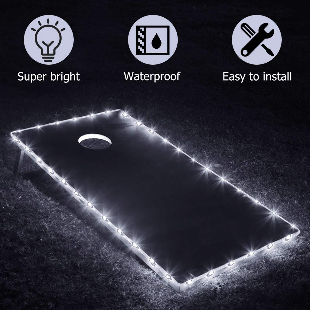 TongYu Cornhole Boards Edge Cornhole Lights, Great for Tailgates Backyard/Cornhole Bags Toss Game-Cold White by TongYu