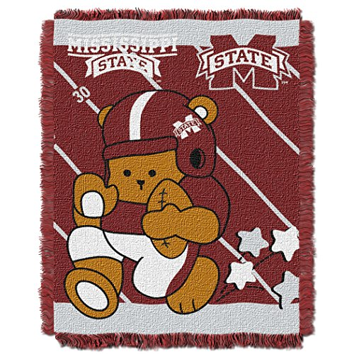 The Northwest Company Officially Licensed NCAA Mississippi State Bulldogs Fullback Woven Jacquard Baby Throw Blanket, 36