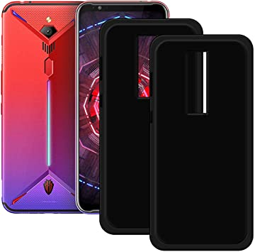 szjckj 2 x Funda para ZTE Nubia Red Magic 3s, Anti-Rasguño Anti-Golpes Case Negro Silicona Carcasa Clear Protectora Slim TPU Gel Silicona Bumper Caso Cover para ZTE Nubia Red Magic 3s (6,65