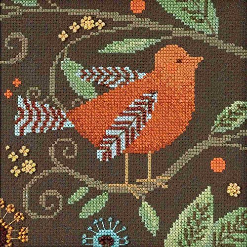 Debbie Mumm Collection - Orange Bird Beaded Counted Cross Stitch Kit Mill Hill 2018 Debbie Mumm Out On A Limb Collection DM301813