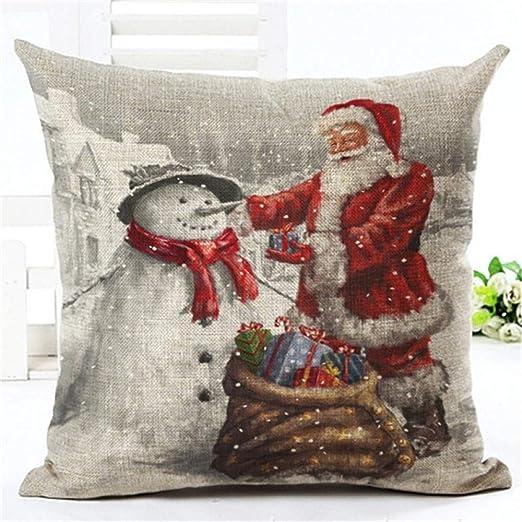 WDDGPZBZ Almohada Lino Almohada Navidad Cojín Grande Cojín ...
