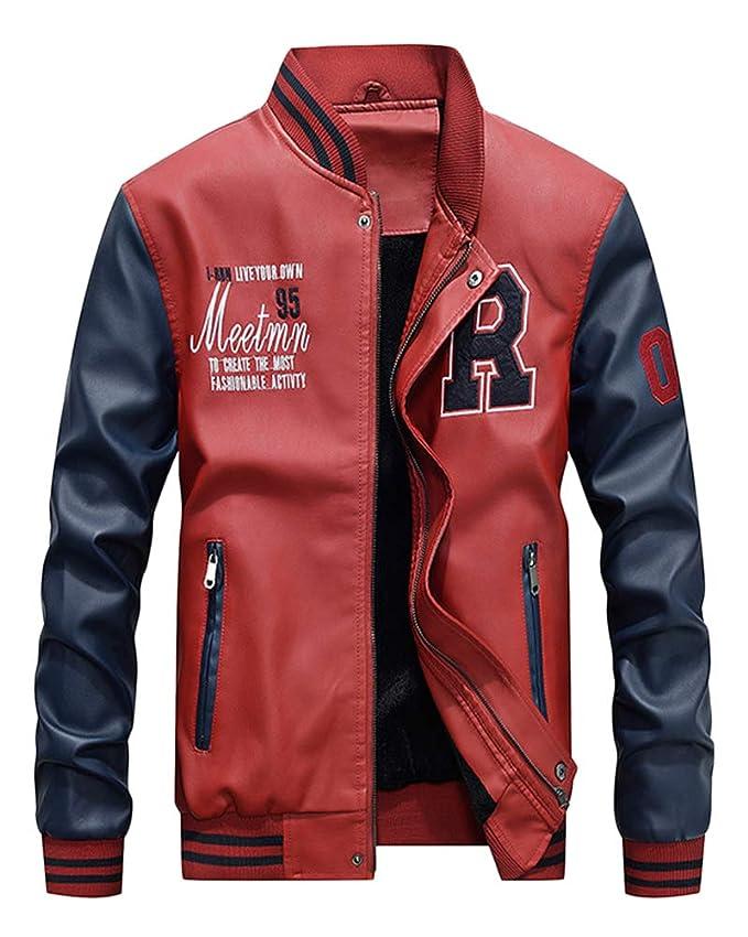 0b69ec29388a DianShaoA Hommes Veste Casuel Cuir PU Teddy Baseball Blouson avec Doublure  Jackets  Amazon.fr  Vêtements et accessoires