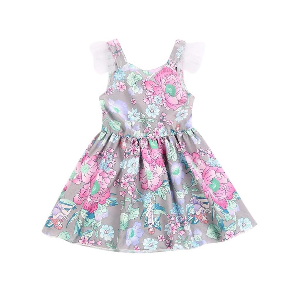 dc89f41cb67f Moonker Baby Girls Spring Summer Sleeveless Dress Multicolor Floral ...