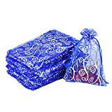 Fengirl Drawstring Organza Jewelry Pouches Wedding Party Christmas Favor Gift Candy Bag (6x4.5inch, Silver pattern&Blue)