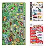 Kid Toys Rug with Roads and Train Tracks,Cool and Fun Area Rug Gift Set with 18 Cars,Kid Rug for Boys and Girls Play and Learn,Car Carpet Playmat for Bedroom Play Room Game Area