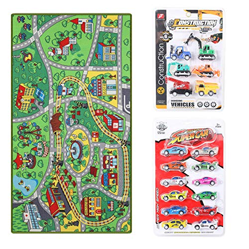 - Kid Toys Rug with Roads and Train Tracks,Cool and Fun Area Rug Gift Set with 18 Cars,Kid Rug for Boys and Girls Play and Learn,Car Carpet Playmat for Bedroom Play Room Game Area