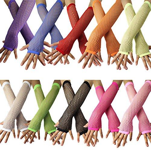 12pcs Set Women's Fingerless Fishnet Gloves Costume Party Accessories (Set A)]()