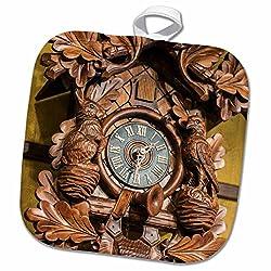 3dRose Danita Delimont - Jim Engelbrecht - Clocks - Cuckoo clock, Rothenburg, Germany - 8x8 Potholder (phl_188523_1)