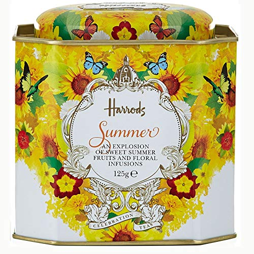 Harrods London. Summer Celebration Loose Tea - 125g - Presented in a Tin Caddy (1 Pack) - USA Stock ()