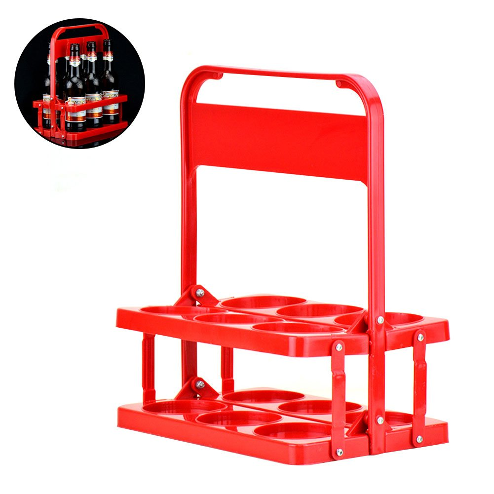 Collapsible Water Bottle Carrier Plastic Beer Portable Folding Basket Caddy Holder for Daily Use Bar Pub Restaurant Party Wine Rack Hold Up to 6 Bottles