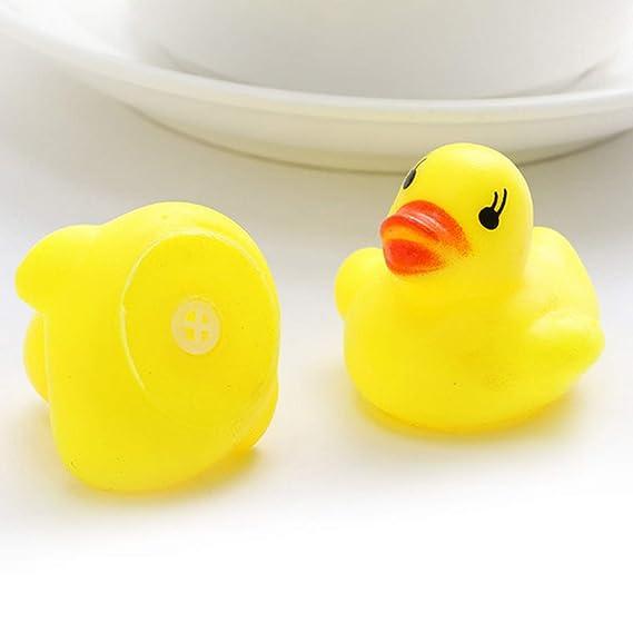 guoxuEE 10pcs bebé baño bañera Juguetes Mini Goma chirrido Flotador Pato Amarillo: Amazon.es: Hogar