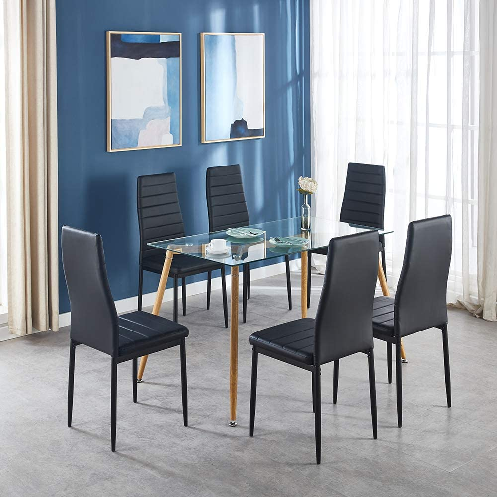 Table Chair Sets Ids Home 5 Piece Contemporary Furniture Dining Room Kitchen Set For 4 Clear Glass Table Metal Leg Frame With Comfort Faux Leather High Back Seat Chairs Black Home