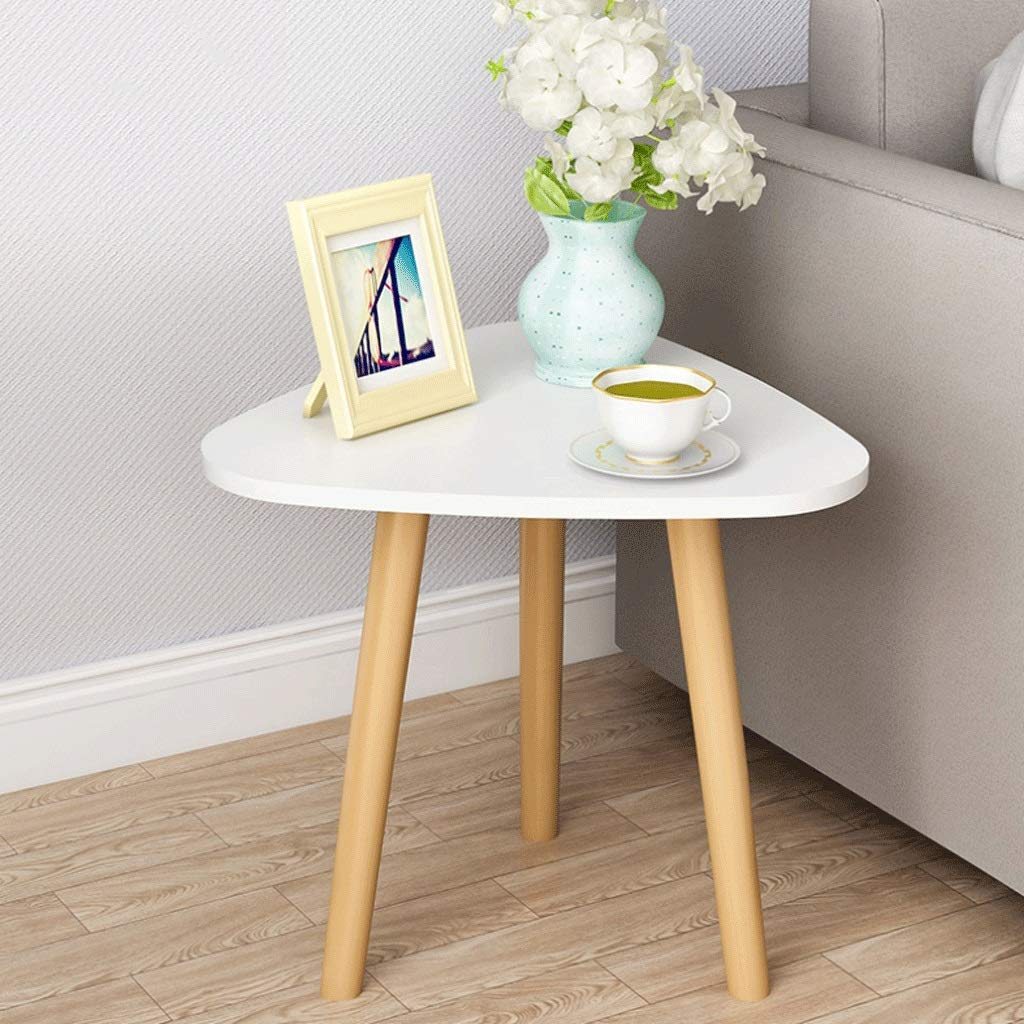 Triangle Coffee Table Side Table Work Table Bedroom Bedside Living Room Sofa Terrace Wood Color (Color : White, Size : 40x42 cm) by Small table
