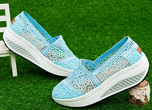 VECJUNIA Damen Plattform Atmungsaktiv Spitze Plateau Freizeitschuhe Sportschuhe Keilabsatz Sommer Sneaker Blau