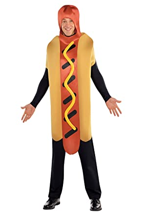 Unisex Sausage Food Outfit Novelty Fancy Dress Adults Hot Diggety Dog  Costume