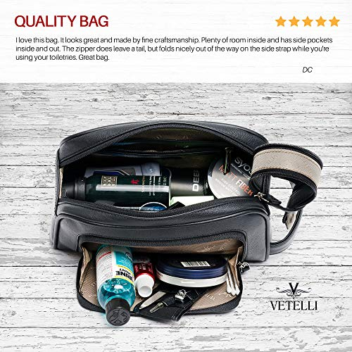 Vetelli Gio Leather Toiletry Bag for Men, Ideal Gift for Travel, Durable, Water-Resistant