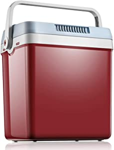 Mini Fridge 27.5 Quart/33 Cans Electric Cooler and Warmer for Car and Home, Dual 12V DC & 110V AC Portable Car Refrigerator with Automatic Locking Handle