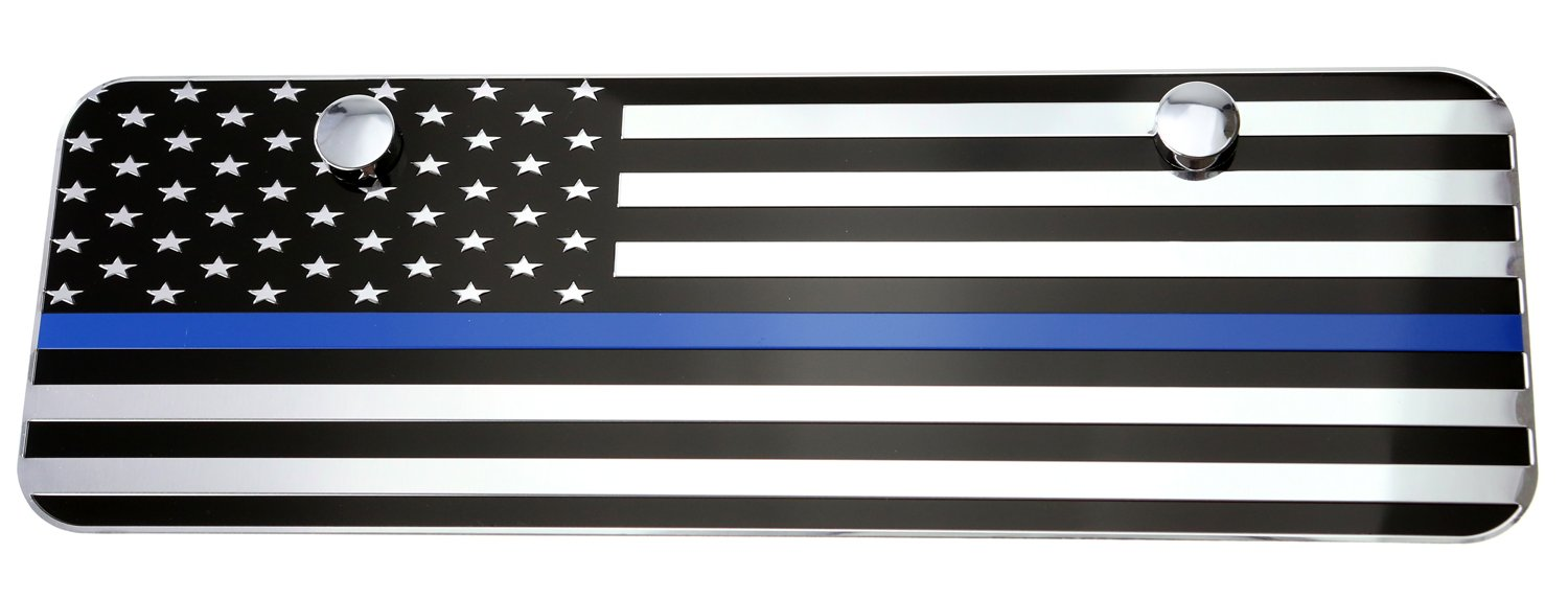 12x6, Black with Thin Blue line LFPartS USA American Black Flag Metal Embossed License Plate