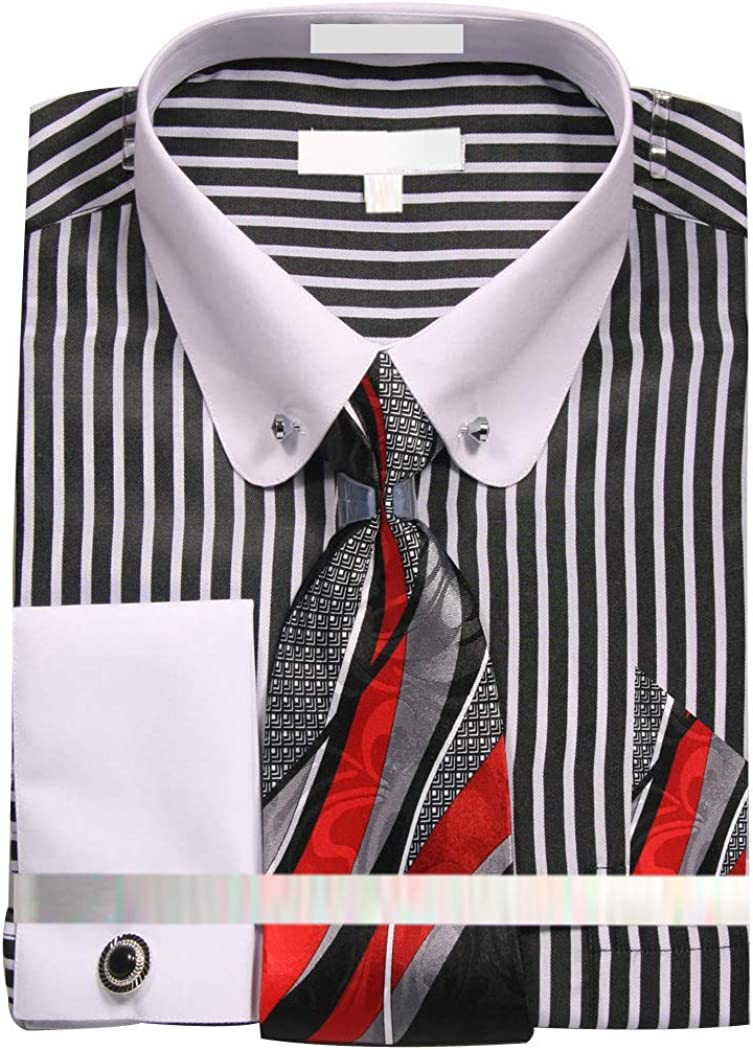 Mens Dress Shirt with Tie Handkerchief Cufflinks and Collar Bar with Stone