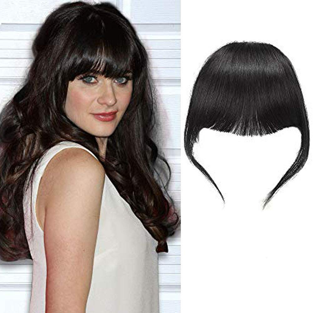 Amazon Com Shinon Bangs Hair Clip In Human Hair Bangs Unprocessed Fringe Hair With Temple Thick Bangs 1b Black Color Beauty