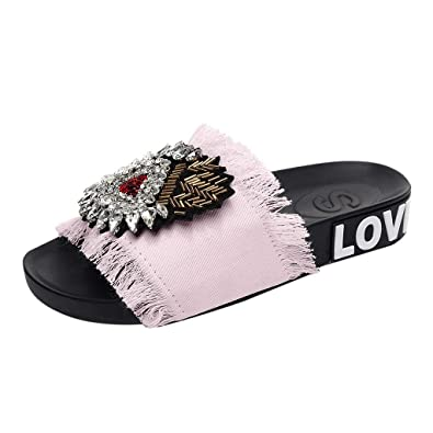 93a633224 FALAIDUO Women s Slippers Fashion Rhinestone Denim Fringe Crystal Platform  Outdoor Slippers Wedges Slippers Beach Thick Sling