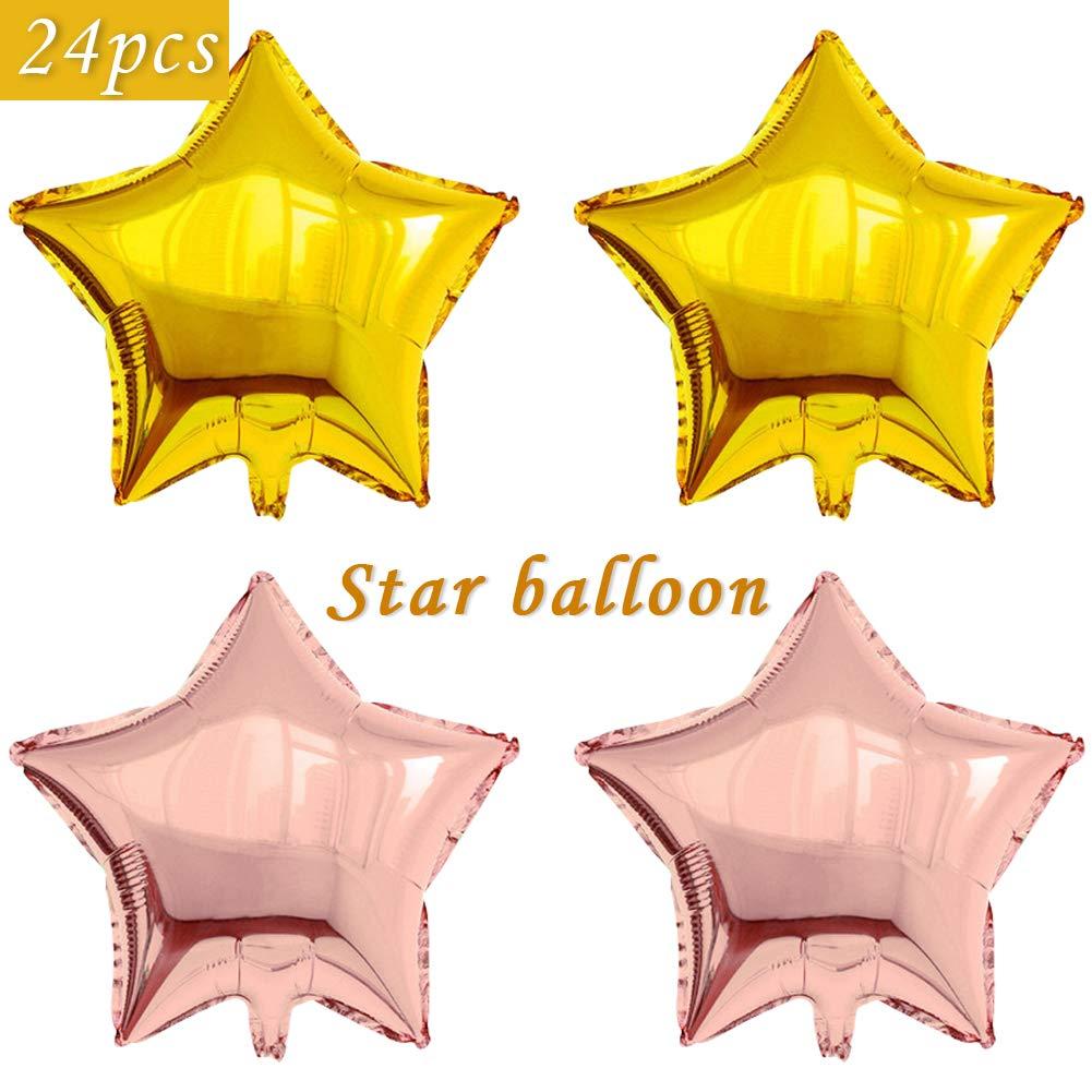 24個 星型 ホイル マイラーバルーン 18インチ 五角形バルーン 誕生日パーティーや結婚式の装飾用 (ゴールド&ローズ)   B07PVJ2VZC