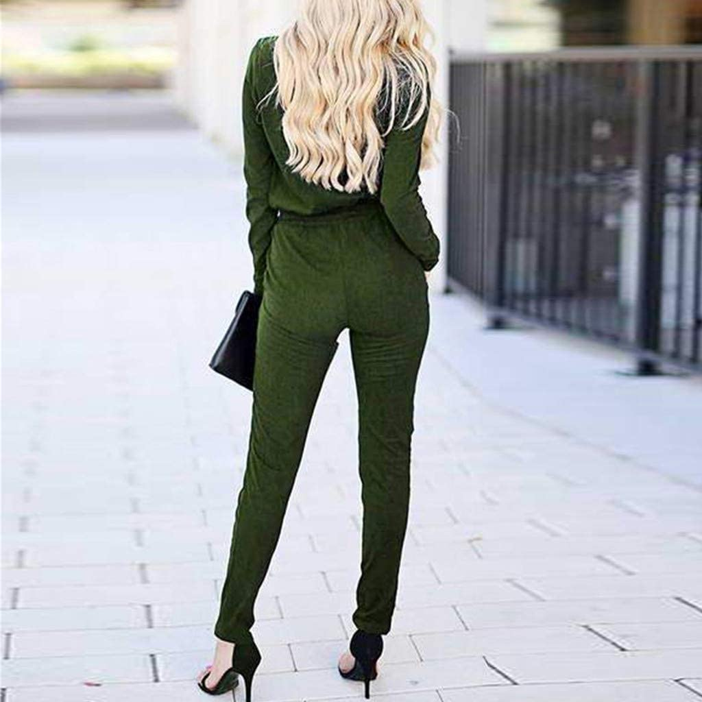 Fshinging Women V Neck Long Sleeve Rompers Casual Drawstring Jumpsuit Playsuit Solid Pencil Pants Suit for Work