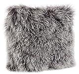 SARO LIFESTYLE 3564.CK20S Mongolian Lamb Fur 100% Wool Poly Filled Throw Pillow, Charcoal, 20''