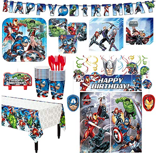 Avengers Superhero Birthday Party Kit, Includes Happy Birthday Banner and Decorations, Serves 16, by Party City