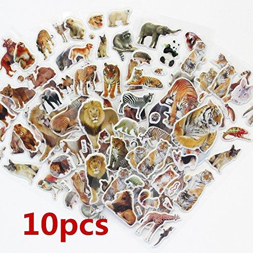 (365Cor - 10 Sheets Set Wildlife Wild Animals Scrapbooking Bubble Puffy Stickers Tigers Lions Stickers Kawaii Emoji Reward)