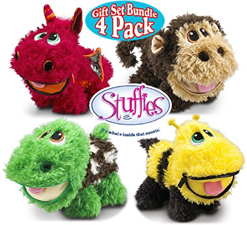 Stuffies Babies Blaze The Dragon  Shuffles The Turtle  Bizzy The Bee   Scout The Monkey Soft Plush Stuffed Animals Toys With Friendship Bracelets Gift Set Bundle   4 Pack