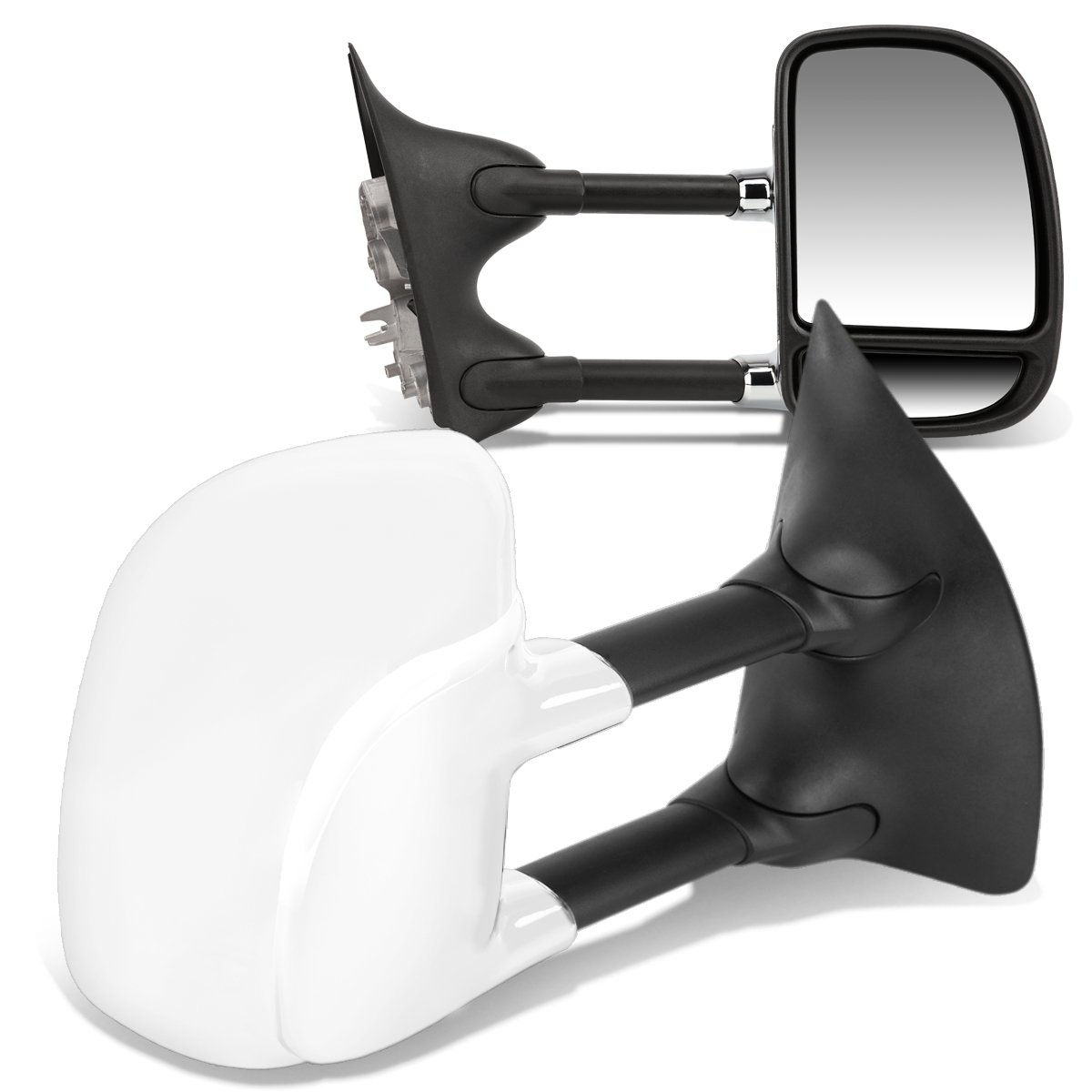 For Ford Super Duty Pair Manual Extenable Chrome Ajustable Side Towing Mirrors by Auto Dynasty