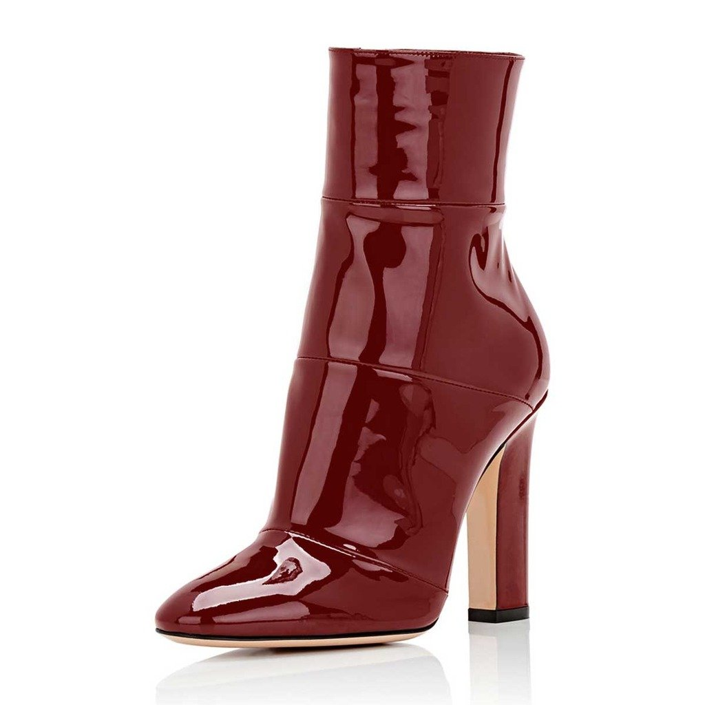 FSJ Women Retro Chunky High Heel Ankle Boots Pointed Toe Booties with Side Zipper Size 4-15 US B075V3C2X9 7.5 B(M) US|Wine