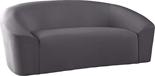 Meridian Furniture Riley Collection Modern | Contemporary Velvet Upholstered Rounded Loveseat