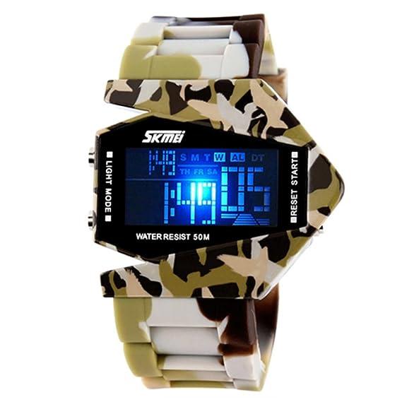 Skmei - Reloj de Pulsera Digital Multifuncional para Hombre, diseño de Camuflaje, Color marrón: Amazon.es: Relojes