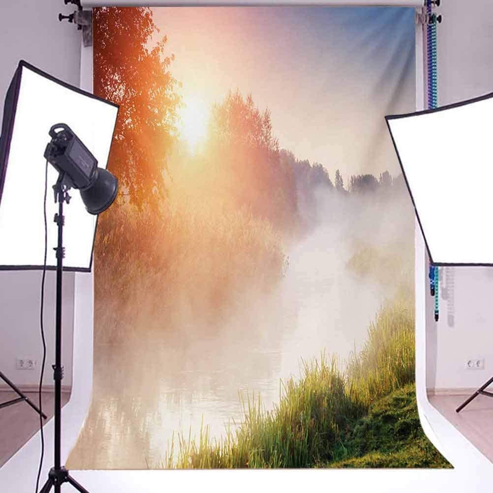 Beaming Sun Rays Through Foggy Mountainside with Grass Trees Sunshine Sunrise Leaves Background for Kid Baby Artistic Portrait Photo Shoot Studio Props Video Drape 10x12 FT Photography Backdrop