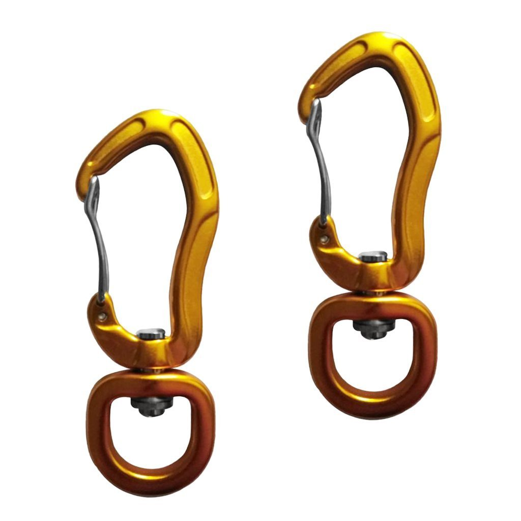 カラビナ 2枚 登山 クライミング キーホルダー フック ロック 回転 アルミ合金 軽量 吊り下げ式 リング 22KN 3色選べ