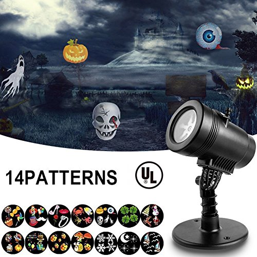 [Upgraded] LED Projector Light With 14 Interchangeable Slides, Ebeet Waterproof Landscape Outdoor/Indoor Spotlight for Halloween Christmas Thanks Giving Day Birthday Wedding Party Home Decoration etc.