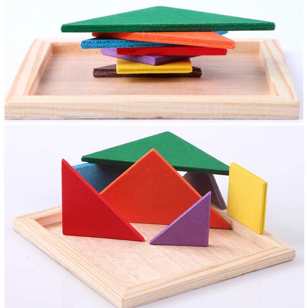 scottpown Bambini in Legno Multicolore Tangram Primi Giocattoli educat Tavoli da Sala da Pranzo