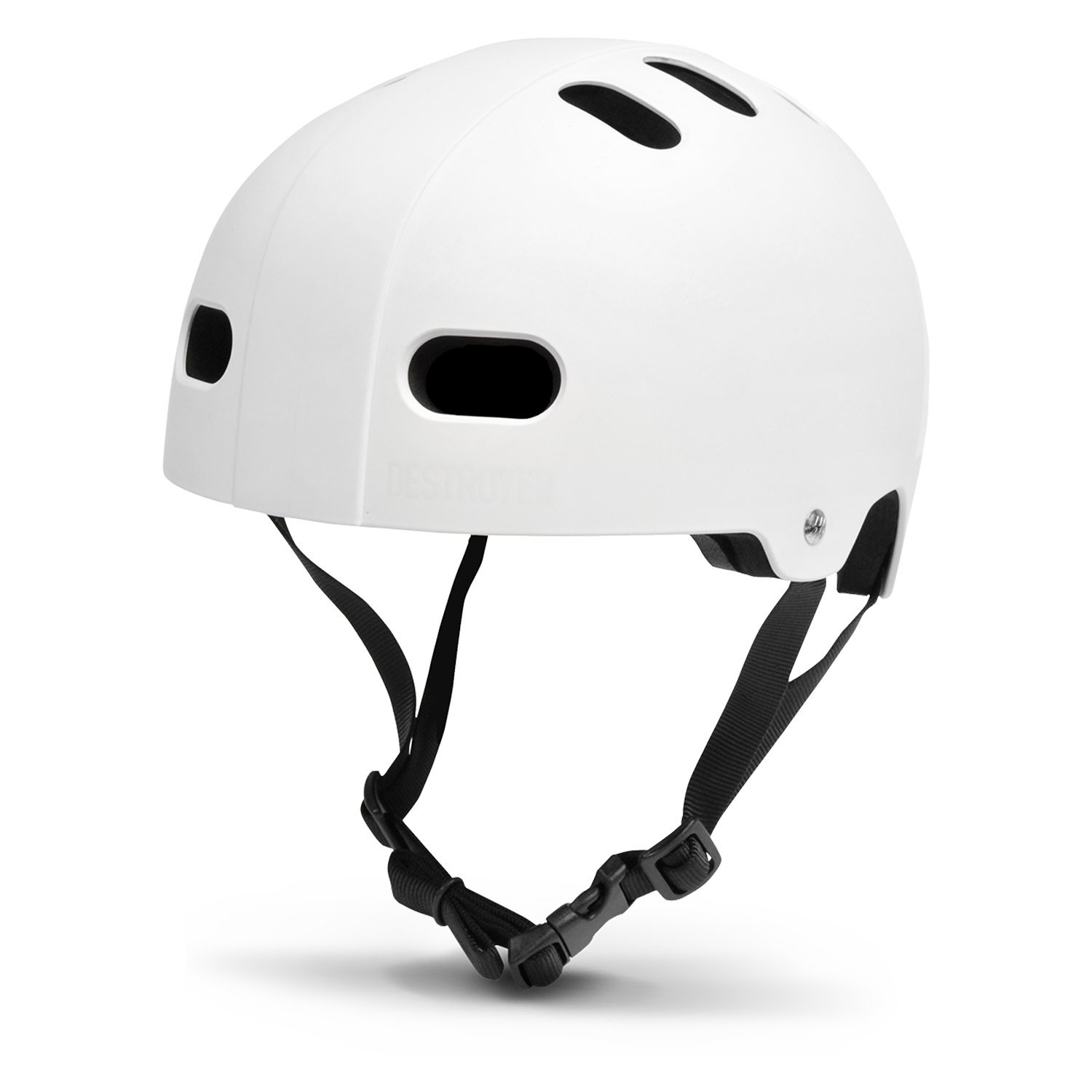 DESTROYER Skateboard and Bike Certified Helmet with Custom Fit Pads (Large/X-Large - Adults, White)