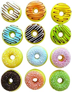 Ruipunuosi 1Pcs Round Sweet Doughnut Fridge Magnets Kitchen Decorative Magnets Nuts Doughnuts Locker Refrigerator Calendar Magnets Message Stickers Home Decor Random Style