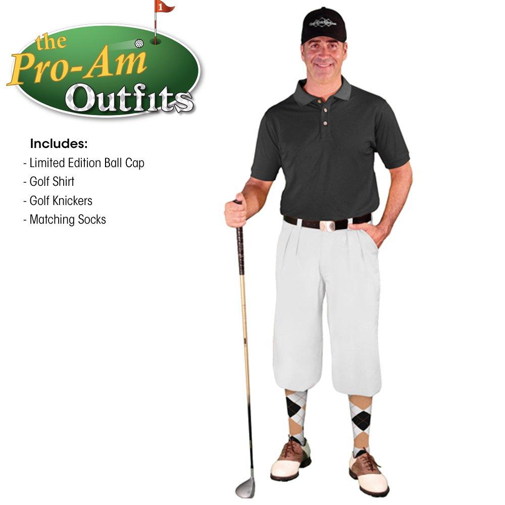 メンズゴルフKnicker Outfit – ホワイトマイクロファイバーゴルフハイブリッド' knickers、限定版ボールキャップ、over-the-calfアーガイルソックス、ブラックマイクロファイバーゴルフシャツ B074CN4T8R Waist-58 Shirt Size - X-Large