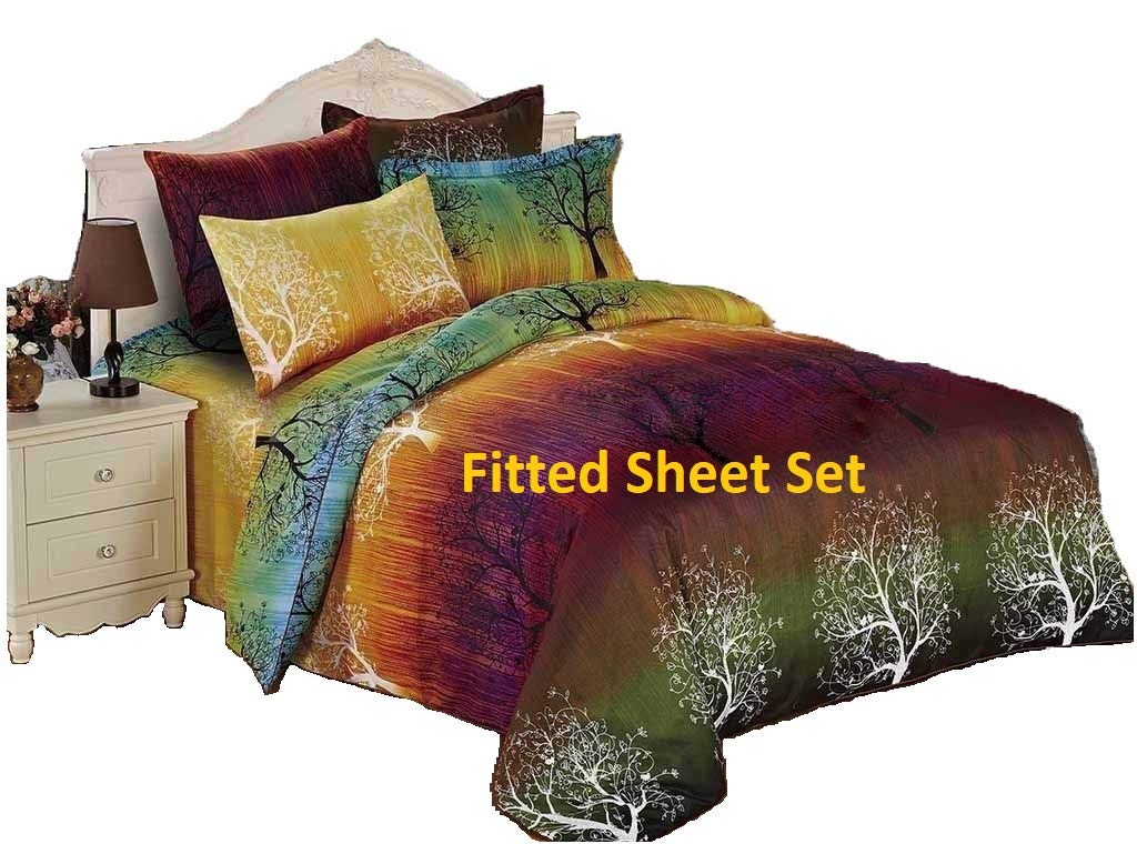 Swanson Beddings Rainbow Tree 100% Microfiber Fitted Sheet Set : Fitted Sheet and Two Matching Pillowcases (Queen)