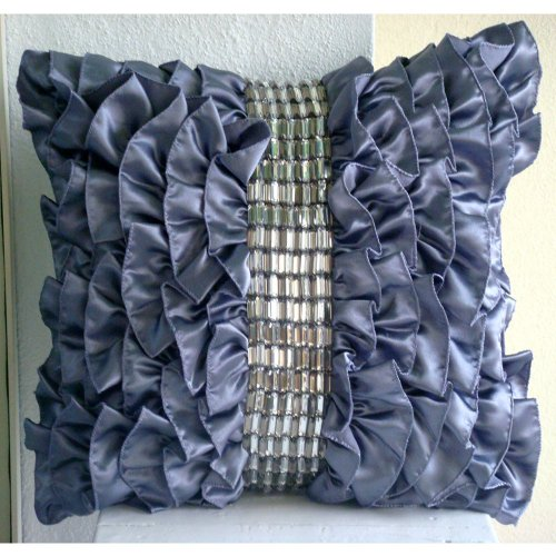 Purple Pillows Cover, Vintage Style Ruffles With Crystals Shabb