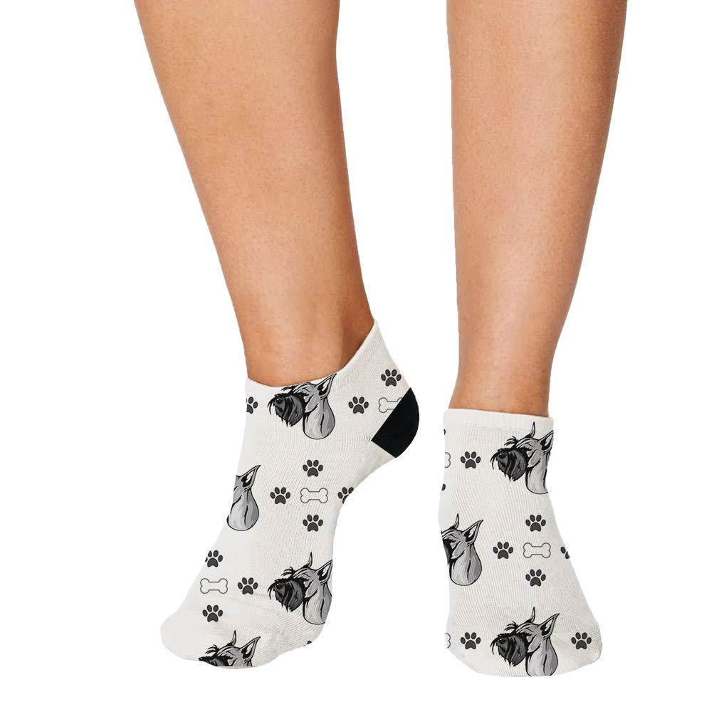 Standard Schnauzer Dog Pattern #1 Men-Women Adult Ankle Socks Novelty Socks