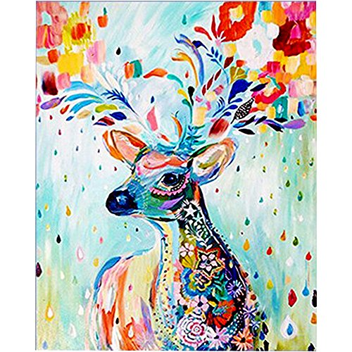 ZEJEUER 5D DIY Diamond Painting By Number Kits Full Drill Animal Rhinestone Diamond Embroidery Paintings (Elk,40x50cm)