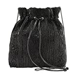 MARY FRANCES Black Out Beaded Solid Pattern Drawstring Crossbody Handbag